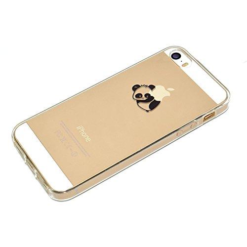 Sycode Custodia per iPhone 5 5S,Cover per iPhone 5S,Silicone Trasparente Case per iPhone SE 5S 5,Liquido Cristallo Chiaro Carina Divertente Motivo Cartone Sinistra Panda Morbida Flessibile Silicone Ge Disotto Panda