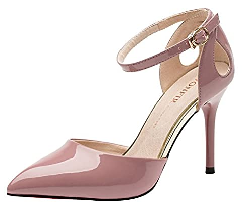 Womens Graceful Pointed Toe Ankle Strappy Stiletto Sandals Wedding High Heels Shoes(5 UK, Pink)