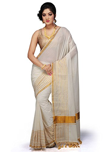 Creative Weaves Cotton Kasavu Saree With Blouse Piece (C4R0E0A4_Cream_Free Size)