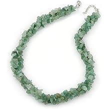 3 hilos trenzados de pepita Jade collar de plata con el cierre - 43 cm L/3 cm Ext