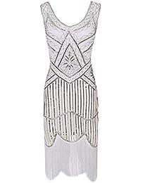 6906746b16ddf HHFF Robes Robes Jupes 1920 Robe Vintage à Paillettes Jupe perlée Robe à  Franges Banquet Haut de Gamme…