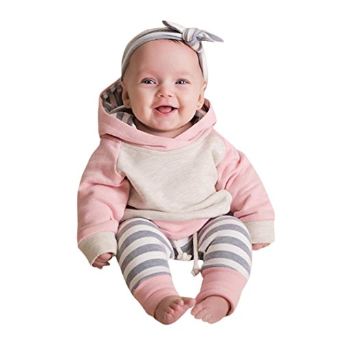 Neugeborene Kleidung Hirolan 3 Stück Kleinkind Baby Junge Mädchen Kleider Set Lange Hülse Kapuzenpullover Tops Streifen Hose Stirnband Outfits (80cm, Rosa) (Herren Party Kleid)