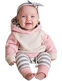 Neugeborene Kleidung Hirolan 3 Stück Kleinkind Baby Junge Mädchen Kleider Set Lange Hülse Kapuzenpullover Tops Streifen Hose Stirnband Outfits