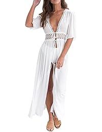 Vestido de Mujer♥♥♥Zarupeng Vestido de Playa Encaje V-Cuello Traje Ropa