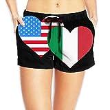 Photo de Hmihilu American Italian Heart Flag Womens Lightweight Board/Beach Shorts Casual Classic Swimming Shorts with Pockets par Hmihilu