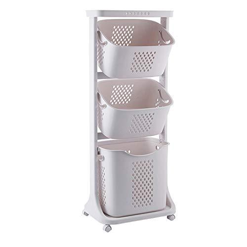 HAIBUHA Wäschekorb Kunststoff Mehrschichtig Es Kann Sich Bewegen Schmutziger Korb Badezimmer Regal (Size : 44x33x106cm)