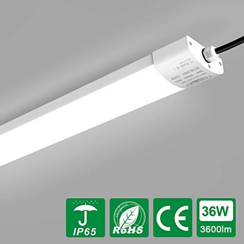 LED Feuchtraumleuchte 36W 120cm für Bad Keller Garage Feuchtraum Warenhaus, Tonffi LED Wannenleuchte Feuchtraumlampe Werkstattlampe Röhre, Neutralweiß 4000K Wasserfest IP65