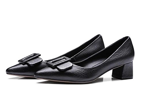 Beauqueen 2017 moda pompelmo pelle punta-punta chunky tacco basso arco estate cravatta casual ufficio scarpe eleganti puro europeo formato 34-39 Black