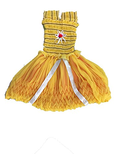 White World Baby Girls Yellow Color Birthday Party wear Frock Dress