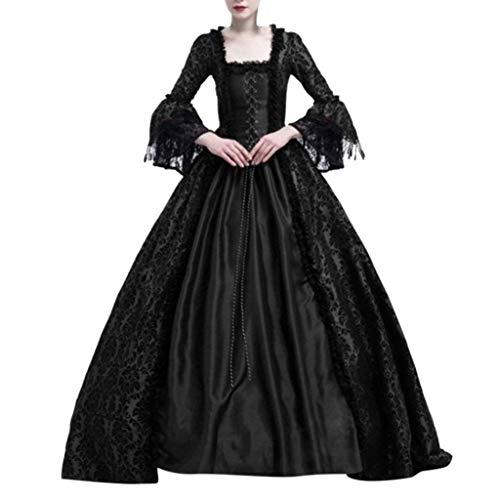 Coole Kostüm Selbstgemacht - Writtian Halloween Damen Mittelalter Kleid Trompetenärmel