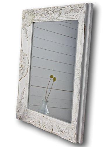 elbmöbel Wandspiegel in weiß antik mit leichter Patina 62 x 52cm mit Holz-Rahmen Landhaus-Stil