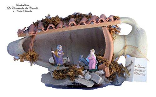 Presepe artigianale artistico ceramica handmade le ceramiche del castello made in italy dimensioni 20 x 13 x 8 cm. pezzo unico