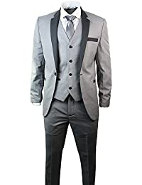Mens 3 pièces Light Grey Suit charbon Version Slim Fit noce Prom