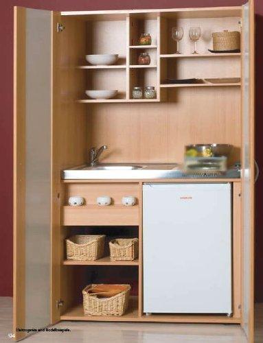 Schrankküche Buche 1,00 m Büroküche Kühlschrank Singleküche Minik ... | {Schrankküche 21}