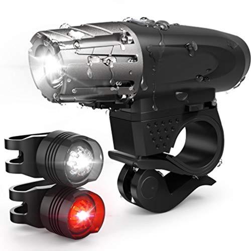 LJG Fahrrad Leuchte, USB-Lade Scheinwerfer-Taillight-Set, Mountainbike-Warnleuchte, Wasserdichte 4-Gang-Positionen Verstellbar (EIN Scheinwerferlicht, Zwei Rückleuchten)