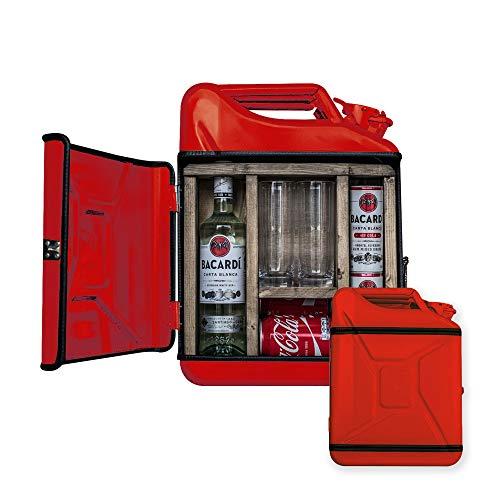 mikamax - Jerrycan Mix Drink Bar 20L - Whiskey Bar- Mobile Bar - Benzinkanister Bar - mit 2 Longdrink Gläsern - Rot - 20 Liter - Holz und Metall - 46.5 x 34.5 x 14 cm - Kanister Barschrank