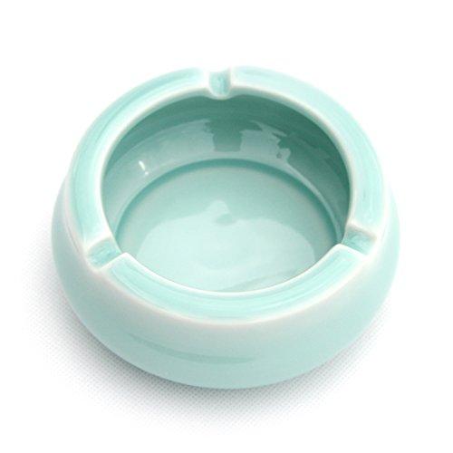 XOYOYO Longquan Celadon Keramikascher kreative Mode Aschenbecher grosses Wohnzimmer minimalistischen Dekoration Aschenbecher, Bruder Brennofen Pulver blau (Hellblau)