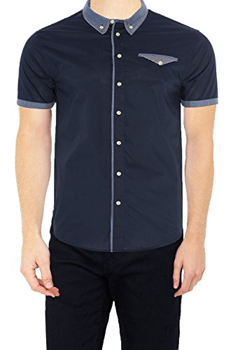 Brave Soul Mens Senate,Tribune, Derin Cotton Short Sleeved Collared Shirt