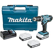 Makita HP457DWE3 - Taladro percutor 18V con 3 baterias Litio-Ion 1.1 Ah 1400 RPM 1.7 Kg 42 Nm