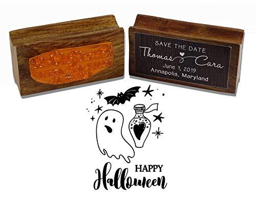 Printtoo Round Happy Halloween Stempel Holz Mounted-Party-Einladung Stamper-Geschenk-Idee