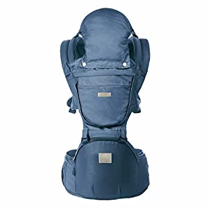 ThreeH Baby Carrier Newborn Lightweight Ergonomic Hip Seat with Hood Soft and Breathable Cool Air Mesh for All Seasons BC28 Navy   14