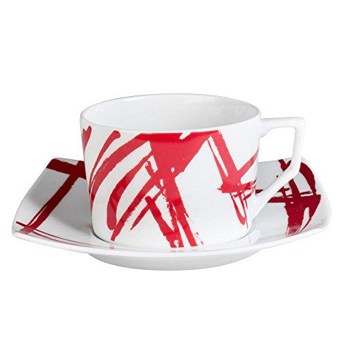 Table Passion - Tasse et soucoupe à thé expression rouge 22 cl (lot de 6)
