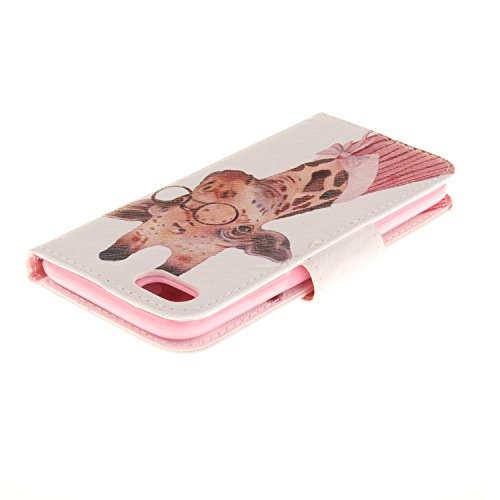 AllDo Housse iPhone 7 PLUS Etui PU Cuir Portefeuille Coque Souple Flexible Housse Ultra Mince Etui folio à rabat en simili cuir Cas Motif Mode Couverture Anti Rayure Coquille Anti Choc Flip Wallet Cas Girafe Douce