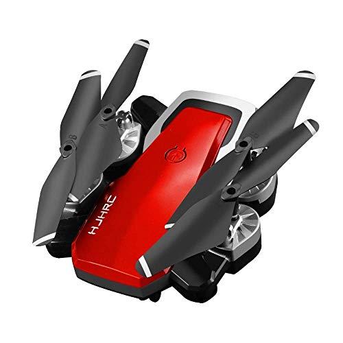 MECFIGH Drone Plegable de 6 Ejes Gyro Stable Flight con cámara HJ28 5.0MP 1080P WiFi FPV RC Quadcopter Drone Ultra Battery Life Gesture Tomar Fotos for Adultos Regalos for niños (Color : Rojo)
