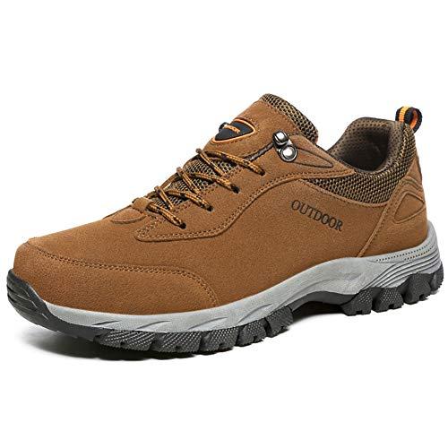 YUL Scarpe da trekking outdoor da uomo Scarpe da trekking in pelle impermeabili Low Rise Scarpe da trekking leggere con lacci antiscivolo e leggere,Brown,39