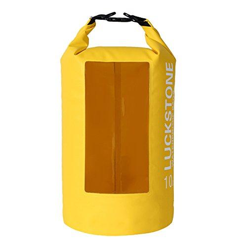 Wasserdichte Trockentasche mit 5 l/ 10 l/ 20 l Kapazität, mit transparentem Fenster für Kajak fahren/ Boot fahren/ Kanu fahren/ Angeln/ Floß fahren/ Schwimmen/ Camping/ Snowboard fahren, gelb, 10 l (Gelbes Floss)