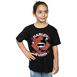 DC Comics niñas Chibi Harley Quinn Badge Camiseta 7-8 Years Negro
