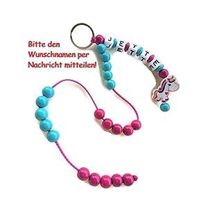 Rechenkette für Mädchen / Einhorn Pink / Türkis