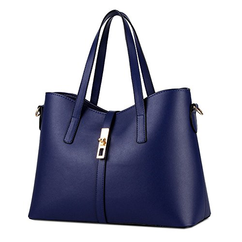 DELEY Frauen Mode Elegante Süßigkeiten-Farbe Tote Handtasche Schultertasche Office Tasche Dunkelblau