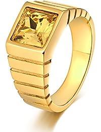 Daesar Edelstahl Ring Herren Retro Quadrat Gelb/Schwarz/Rot/Grün/Blau Zirkonia Breite 10 MM Freundschaftsring Gold Ring