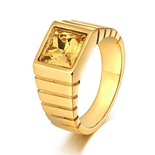Edelstahl mit Quadrat Gelb Zirkonia Breite 10 MM Partnerring Retro Ring Gold Größe 62 (19.7) ()
