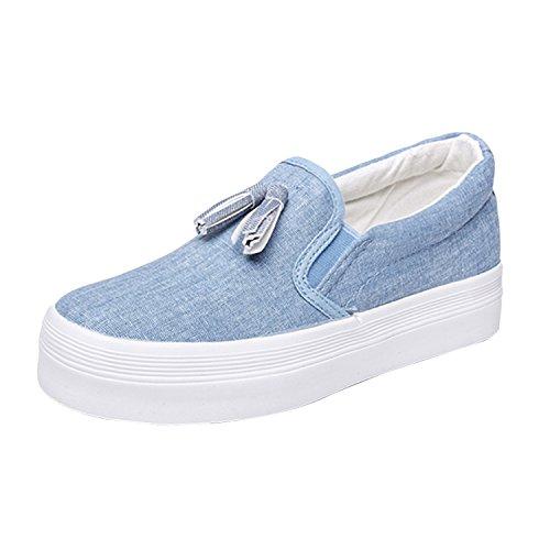 Oasap Damen Casual Slip-On Platform Loafers Canvas Shoes Grau
