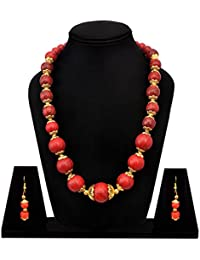 Sitashi Fashion Jewelry Hand Made Red Color Beads Necklace For Girls And Women For Sari And Casual Wear