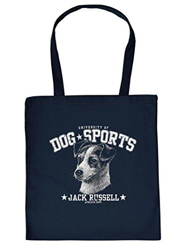 Stofftasche, Einkaufstasche mit Hundemotiv - Jack Russel - Tragetasche, Stoffbeutel Blaue Jack Hundefutter