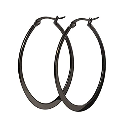 Vnox Women's Girl's Stainless Steel Simple Oval Shape Large Hoop Earrings Black,Creole
