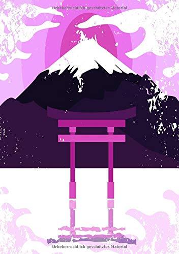 Notizbuch mit japanischem Schrein im See in pink: Notizbuch mit traditionellem japanischen Schrein