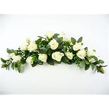 Artificial Silk Flowers Rose Bud Eucalyptus Gypso Swag / Slim Table Centrepiece (Off White) from GT Decorations