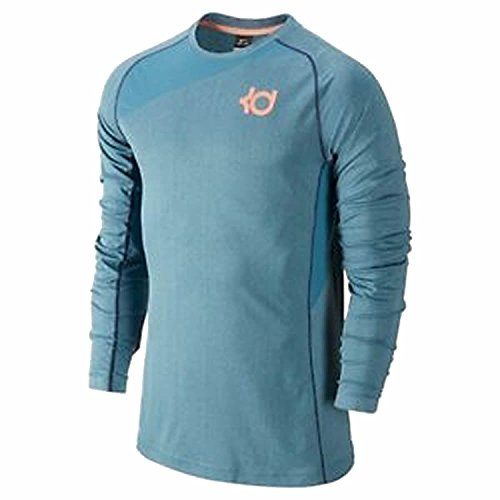 Nike Mens Dri Fit KD Fearless Long Sleeve Basketball Shirt Rift Blue - Nike Shooting Sleeves