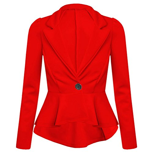 Planet_Fancy_Dress - Manteau - Uni - Avec col - Manches Longues - Femme Rouge - Rouge