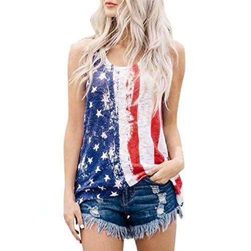 Damen Ärmellos Tank Tops Omingkog Sommer O-Ausschnitt Ärmellos Amerikanische Flagge Oberteile Weste Bluse Lässige Vest Blumendruck Tops