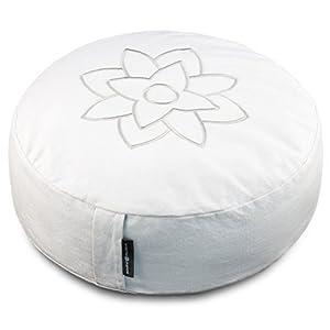 Großes Weißes Yogakissen/ Meditationskissen – Bezug waschbar & abnehmbar – Buddhistisches Zafu Yoga