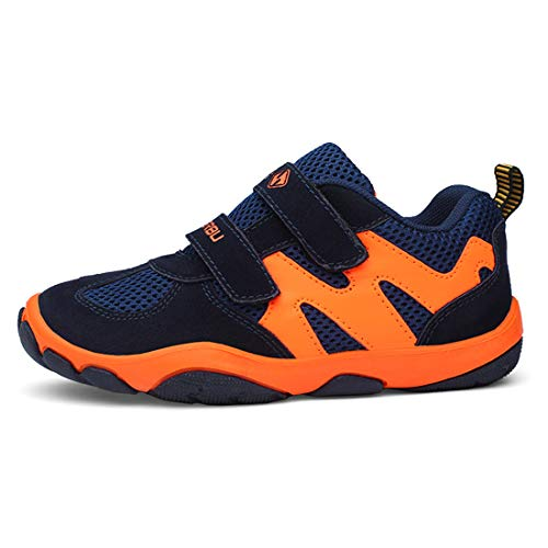 Turnschuhe Kinder Hallenschuhe Jungen Sportschuhe Mädchen Laufschuhe Sneaker Outdoor für Unisex-Kinder (32 EU, 807-Orange Dunkelblau) -