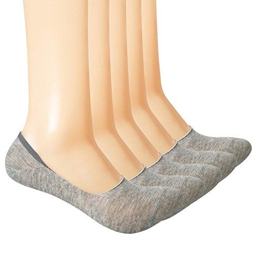 Yolev Lot de 5 paires Chaussettes Invisibles Respirantes en Coton Chaussettes d'été Navire Courtes Ultra Élastique et Confortable pour Femme (EU35-40)