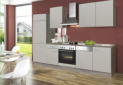 idealShopping GmbH Küchenblock mit Glaskeramik Kochfeld und Geschirrspüler Sabia 270 cm in Sahara beige Seidenmatt
