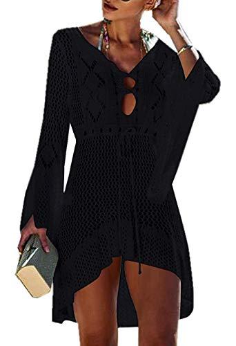 Jinsha Vestido de Playa - Mujer Pareos y Camisola de Playa Sexy Hueco Traje de Baño Punto Bikini Cover...