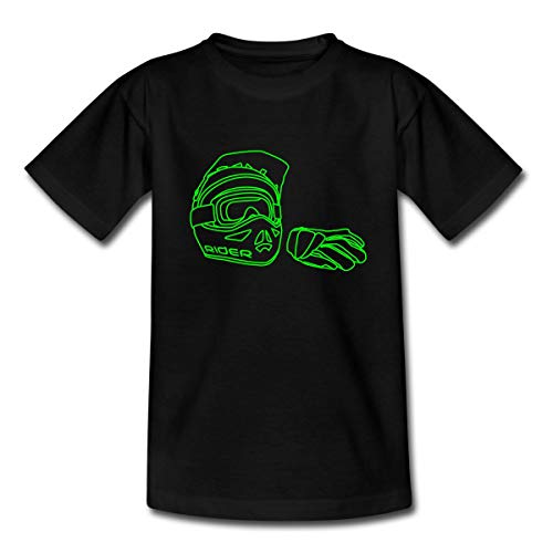 Spreadshirt Helm Handschuhe Enduro MX Mountainbike Downhill Teenager T-Shirt, 134/146 (9-11 Jahre), Schwarz